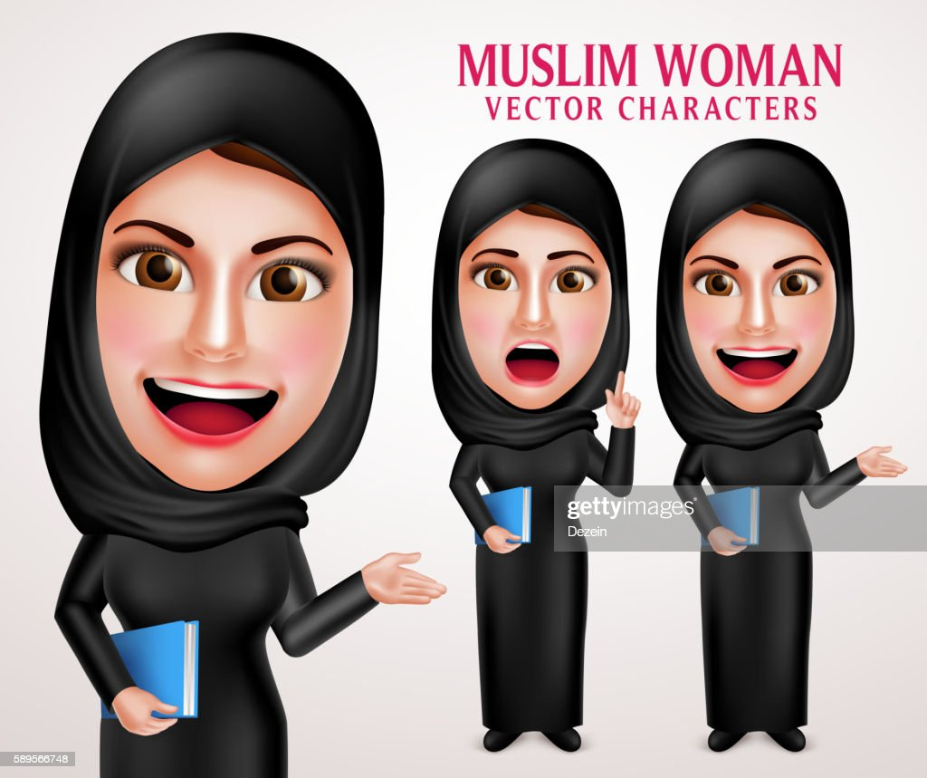 Muslim woman vector character set holding book with friendly smile