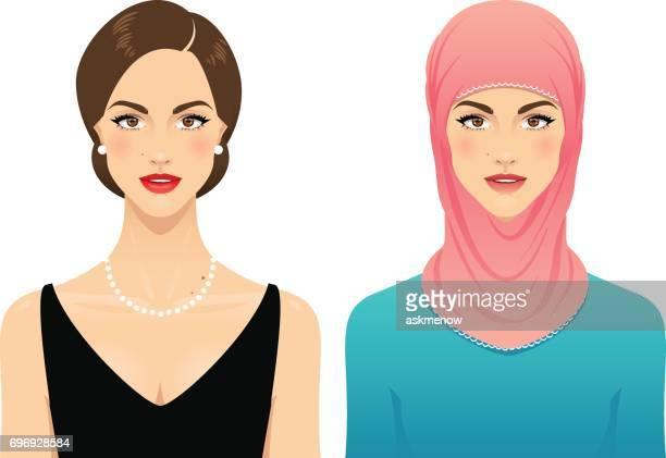 ilustraciones, imágenes clip art, dibujos animados e iconos de stock de mujer musulmana - social grace