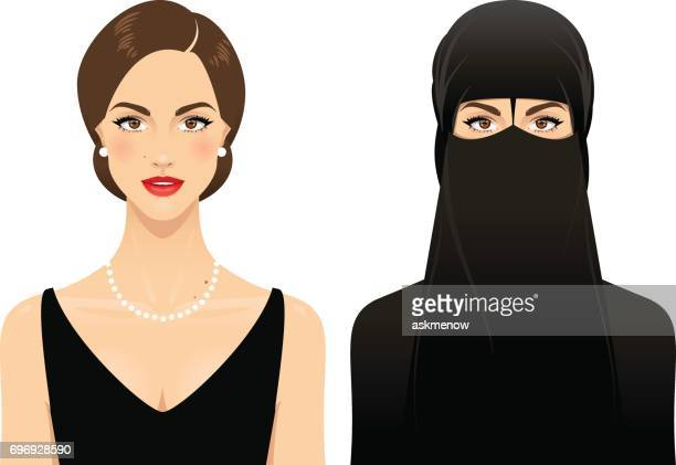 muslim woman - natural condition stock illustrations, clip art, cartoons, & icons