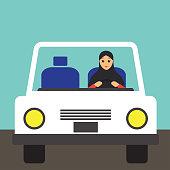 Muslim woman wearing a hijab driving a car cartoon character. vector illustration