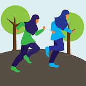Muslim woman wearing a hijab runner running sport