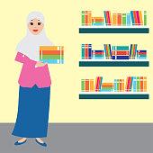 Muslim woman wearing hijab  at the library cartoon character. vector illustration