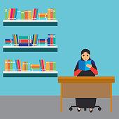 Muslim woman wearing hijab  reading a book at the library cartoon character. vector illustration