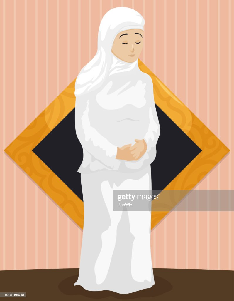 Muslim Woman Wearing White Clothes to Celebrate Hajj