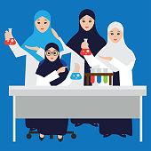 Muslim women chemistry student wearing hijab