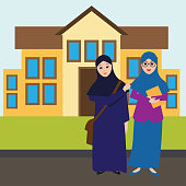 Muslim women wearing hijab in front of college