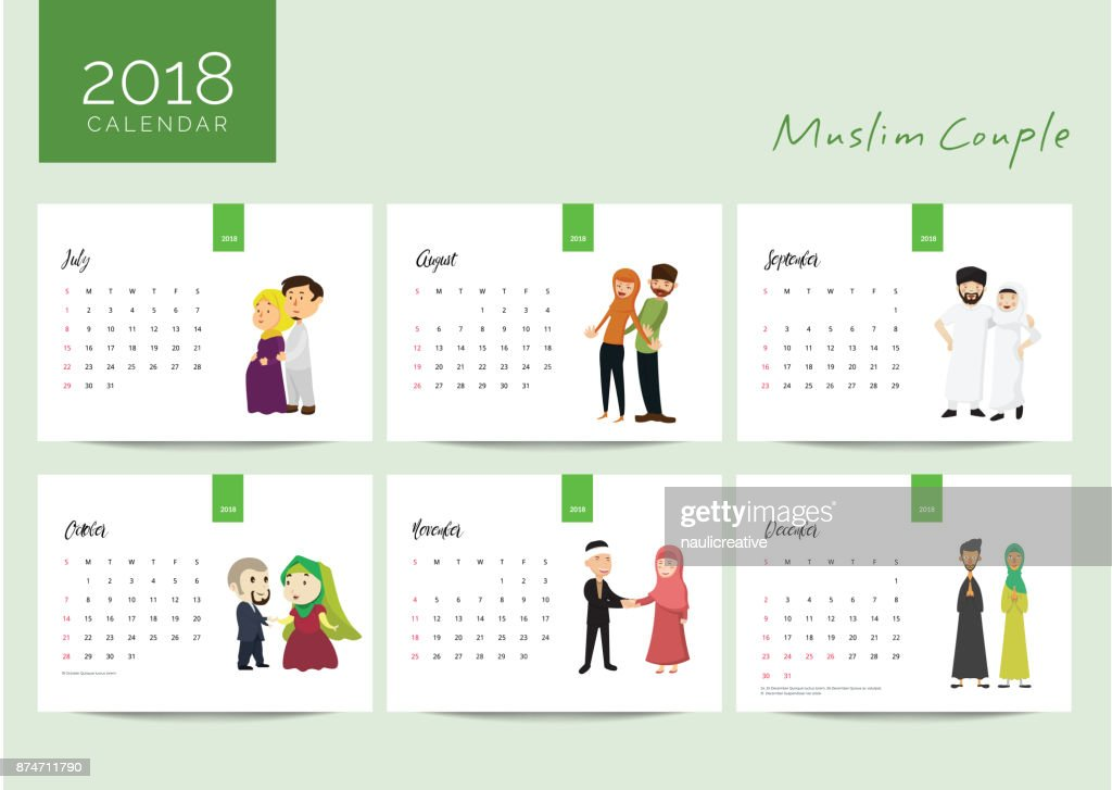 2018 Muslim Young Family Couple Desk Calendar Illustration