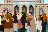 Muslims Embracing Each Other After Prayer in Mosque Illustration