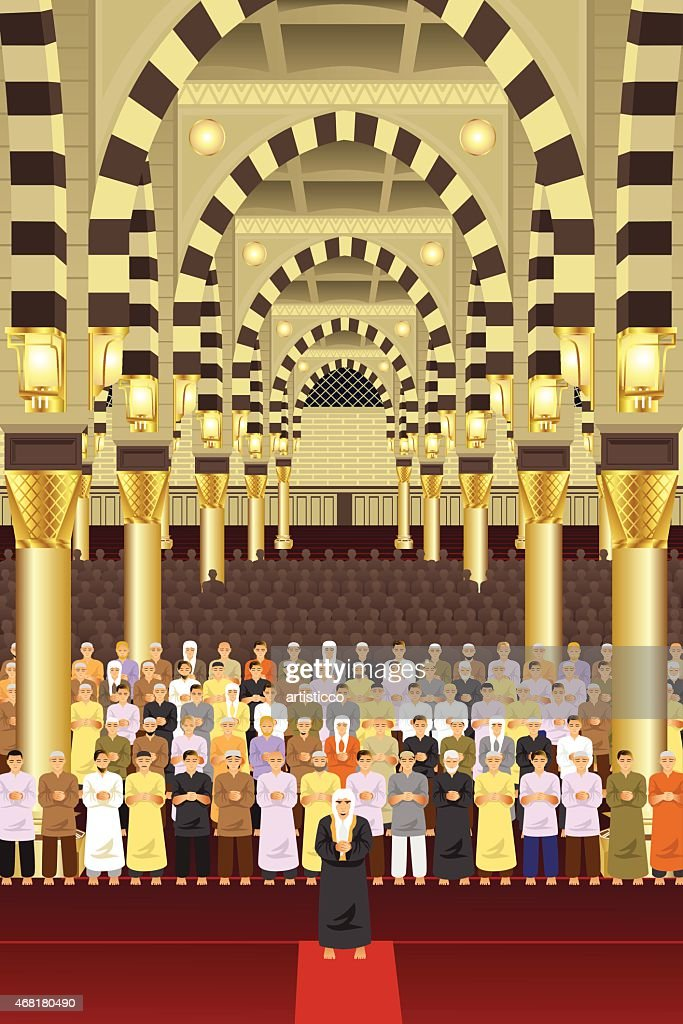 Muslims praying together in a mosque