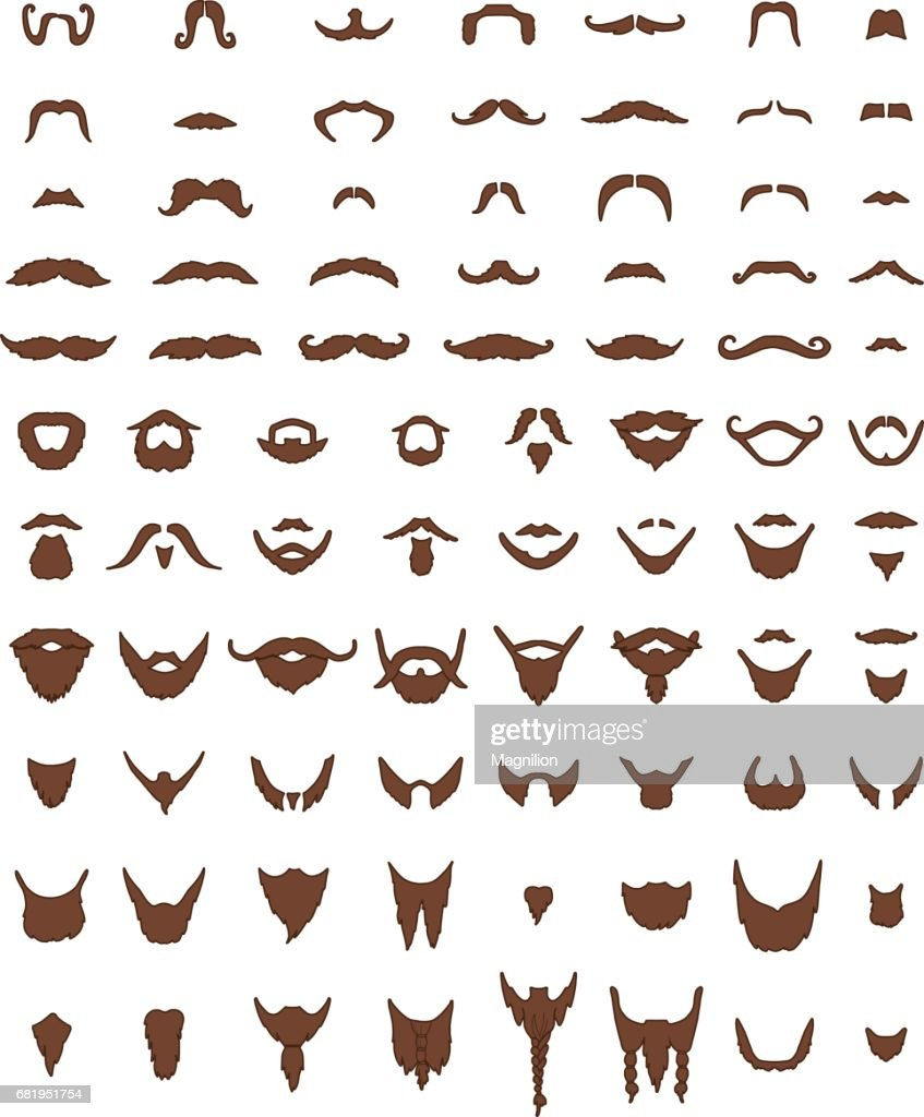 Mustache and Beards Vector Set : stock illustration