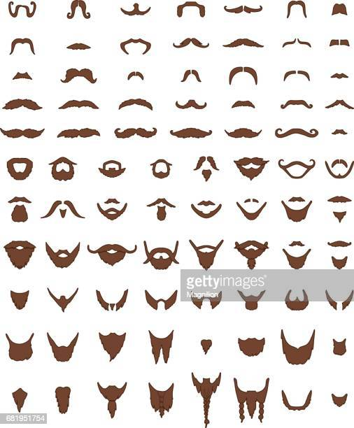mustache and beards vector set - facial hair stock illustrations
