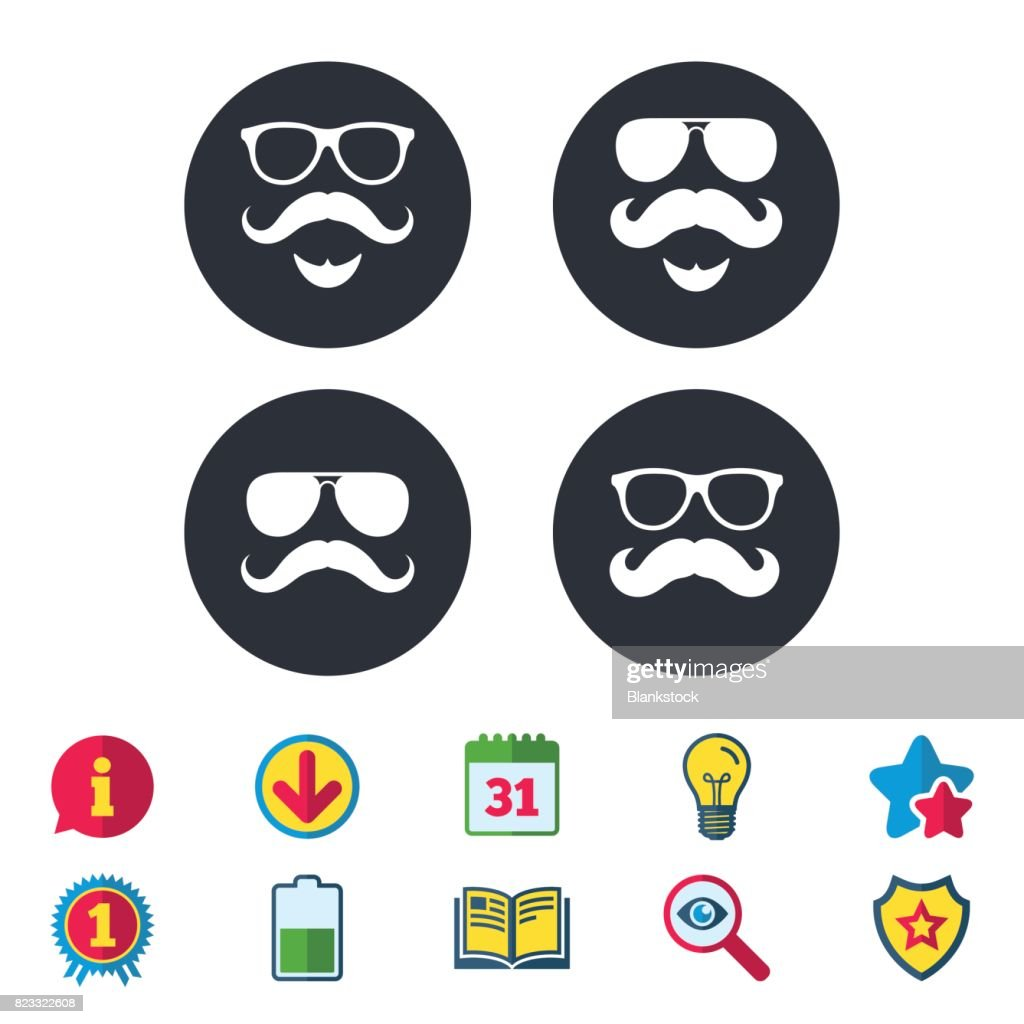 Mustache And Glasses Icons Hipster Symbols Vector Art Getty Images