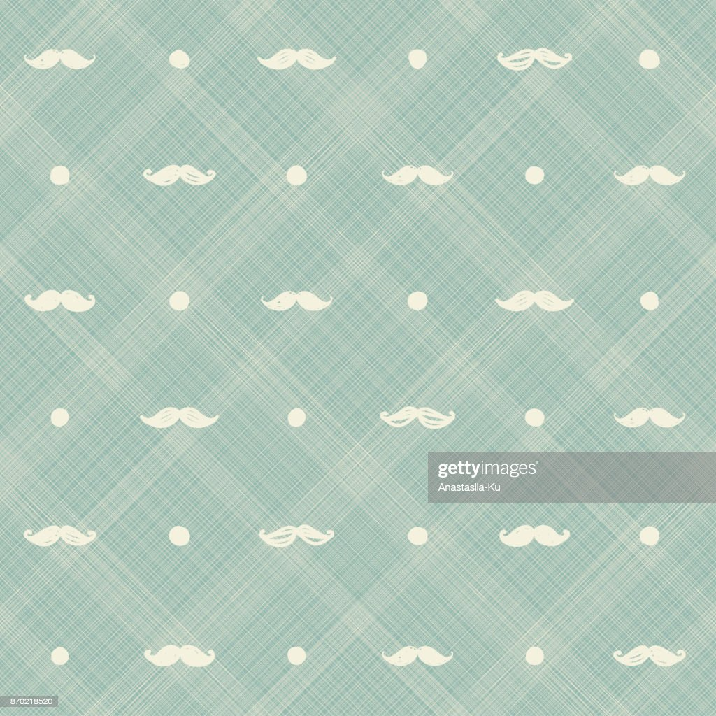 Mustache and polka dot seamless pattern. Vector hand drawn hipster seamless pattern in doodle style