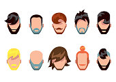 Mustache, beard and hair style set