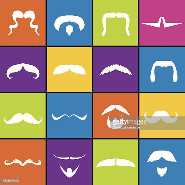 Mustache & Beard Icon Set In Bold Colors