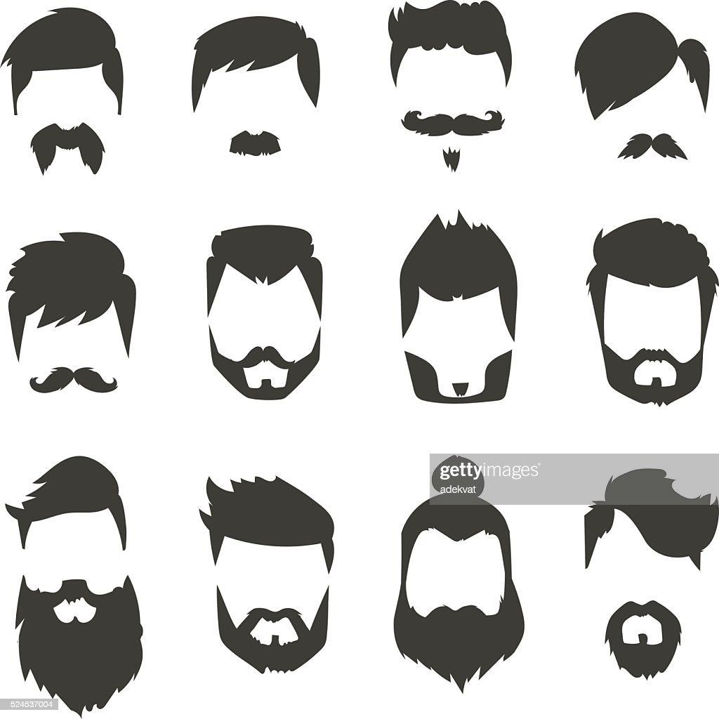 Mustache beard set hairstyle black silhouette fashion vector illustration