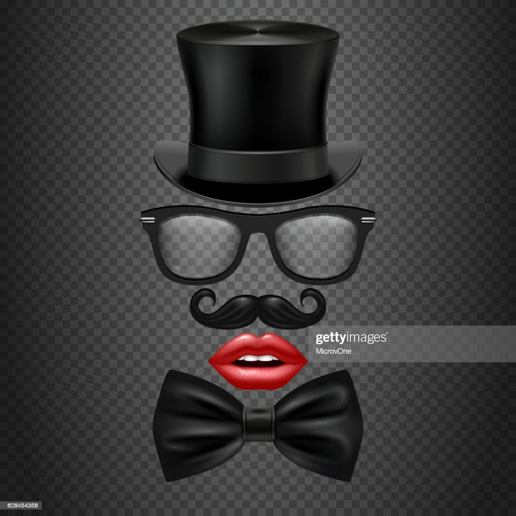Mustache, bow tie, glasses, red girl lips and cylinder hat.