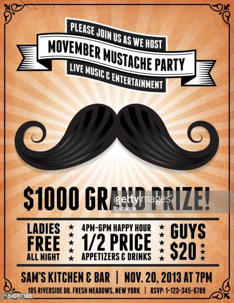 Mustache Competition royalty free vector Postcard on Retro Paper Background