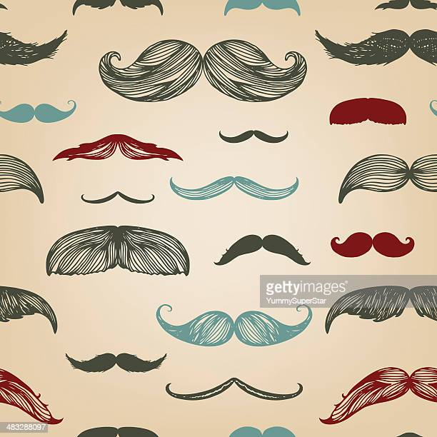 Mustache hand-drawn seamless set