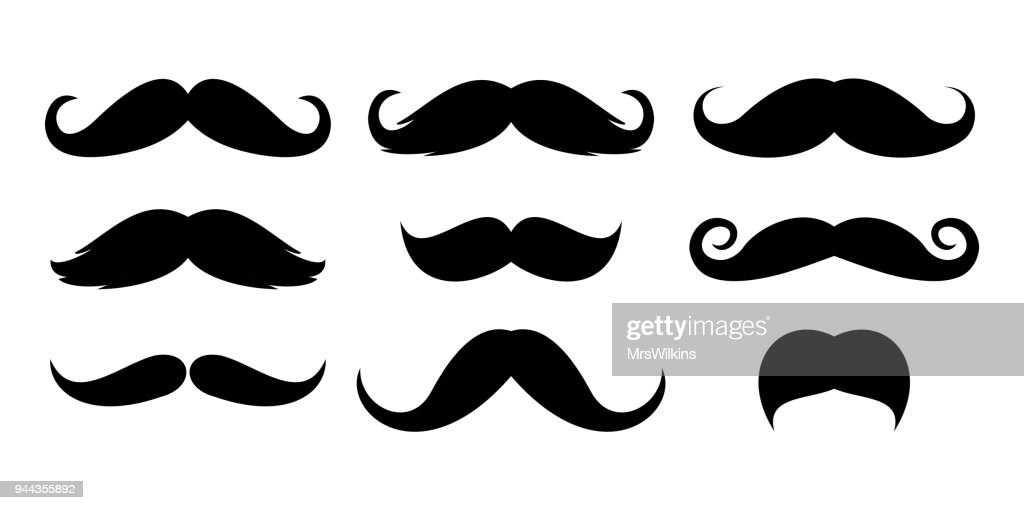 Mustache icon set vector