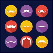 Mustache Icons Flat Design Circle