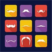 Mustache Icons Flat Design
