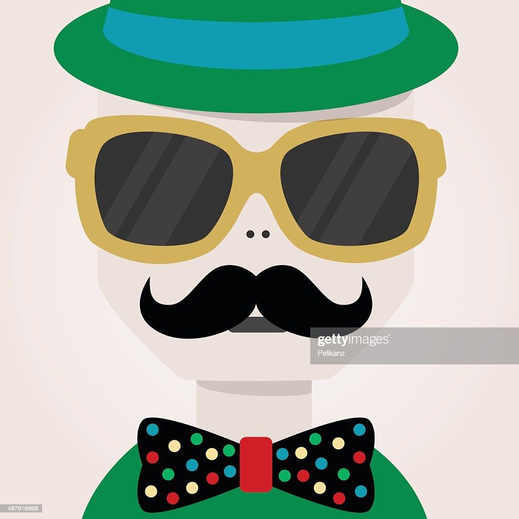 Mustache man face close up icon