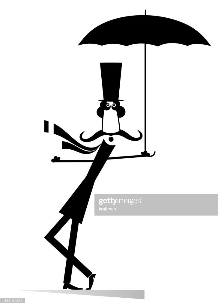 Mustache man in the top hat with umbrella isolated
