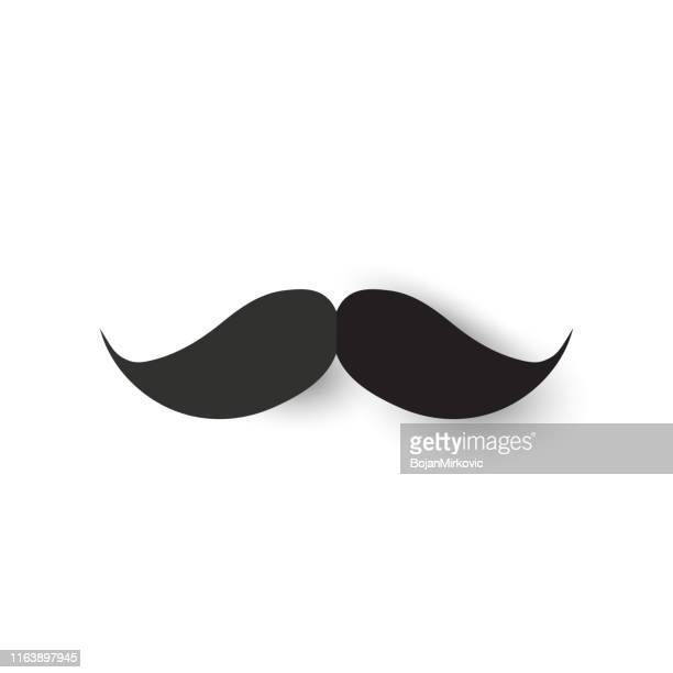 mustache paper icon on white background. vector - mustache stock illustrations