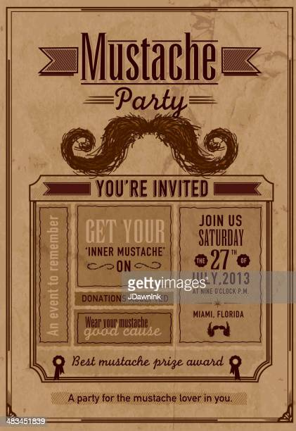 Mustache Party celebration invitation design template