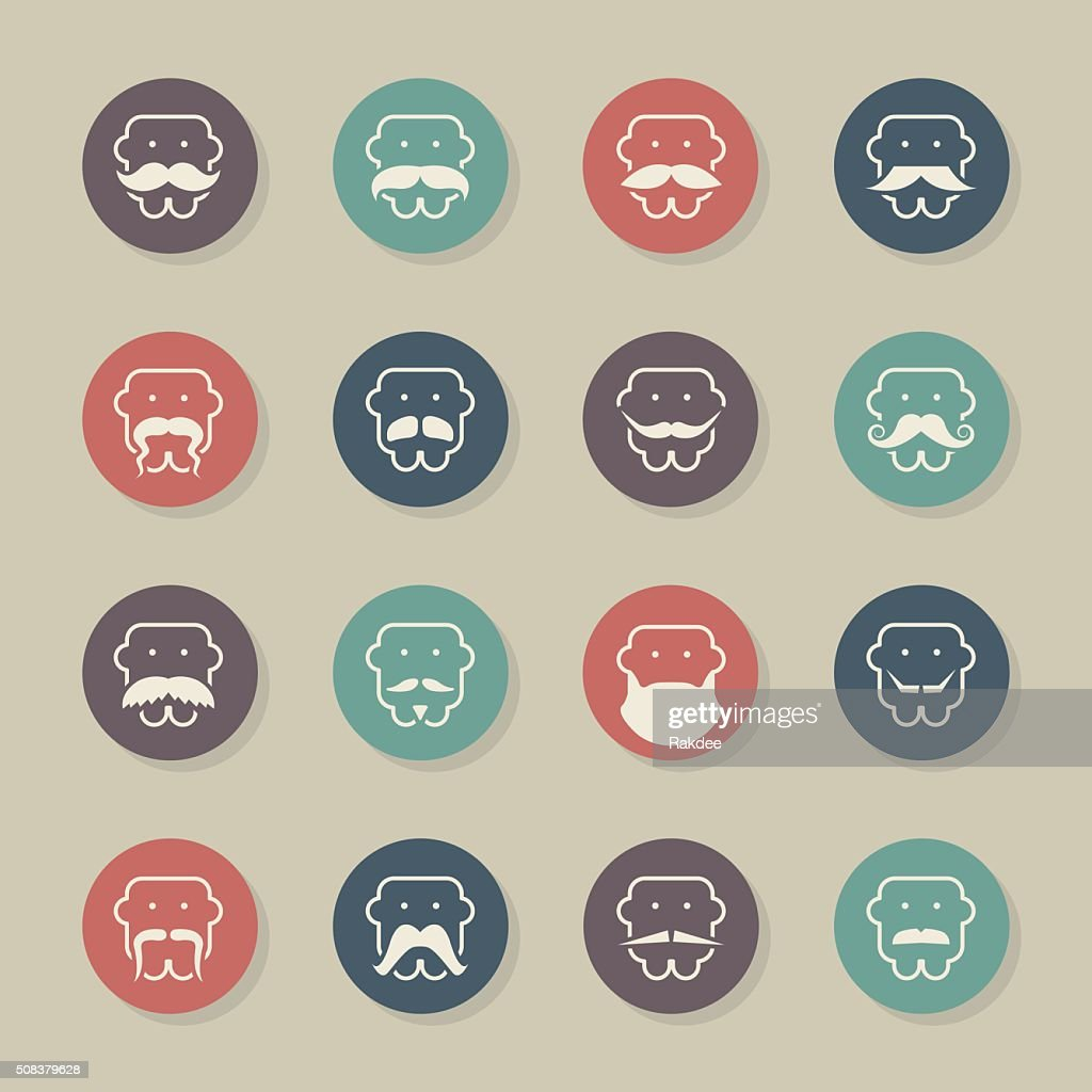 Mustache Style Icons - Color Circle Series : stock illustration