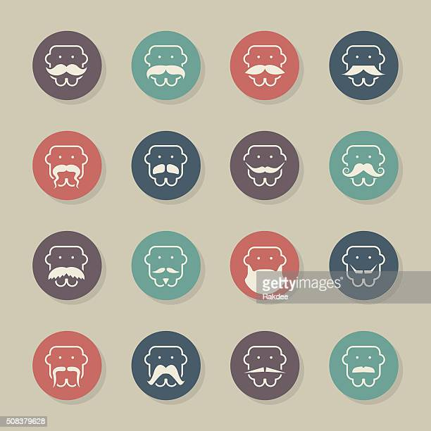 Mustache Style Icons - Color Circle Series