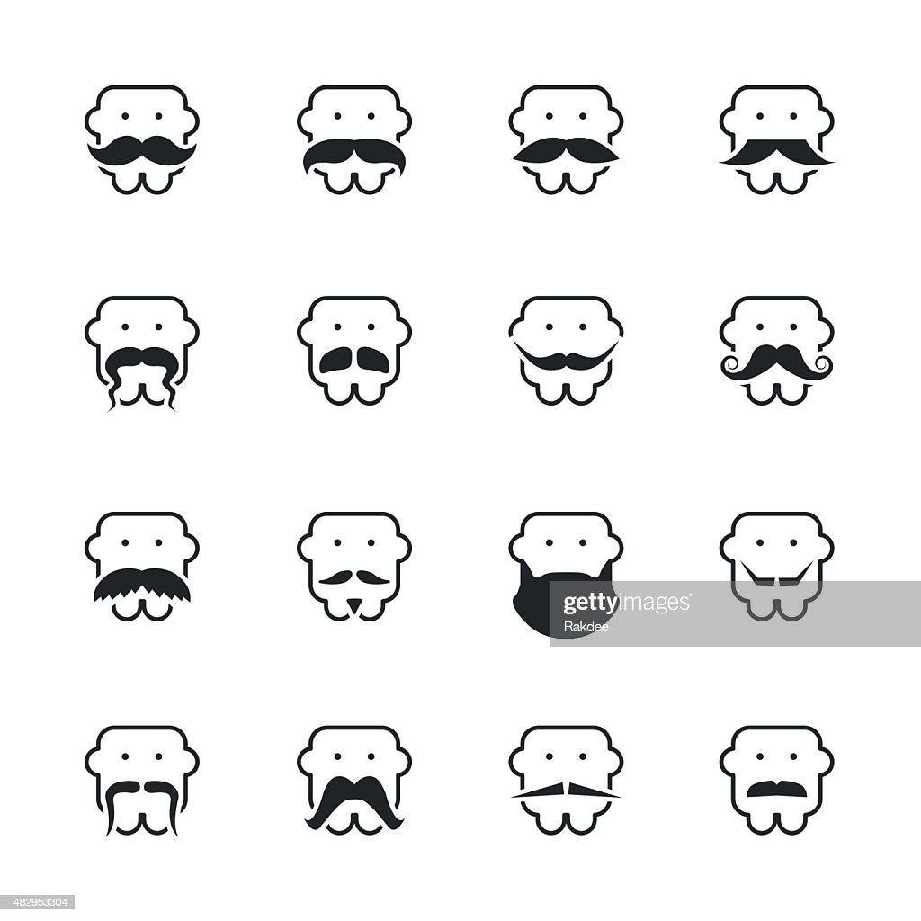 Mustache Style Silhouette Icons : stock illustration