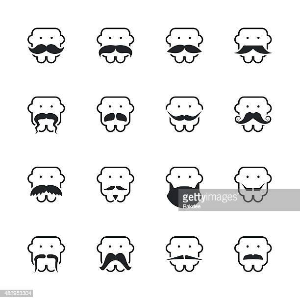Mustache Style Silhouette Icons