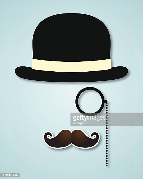mustache - hat stock illustrations