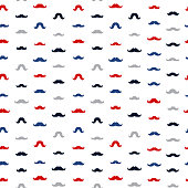 Mustache Vector Seamless Pattern. November Holiday Wrapping.