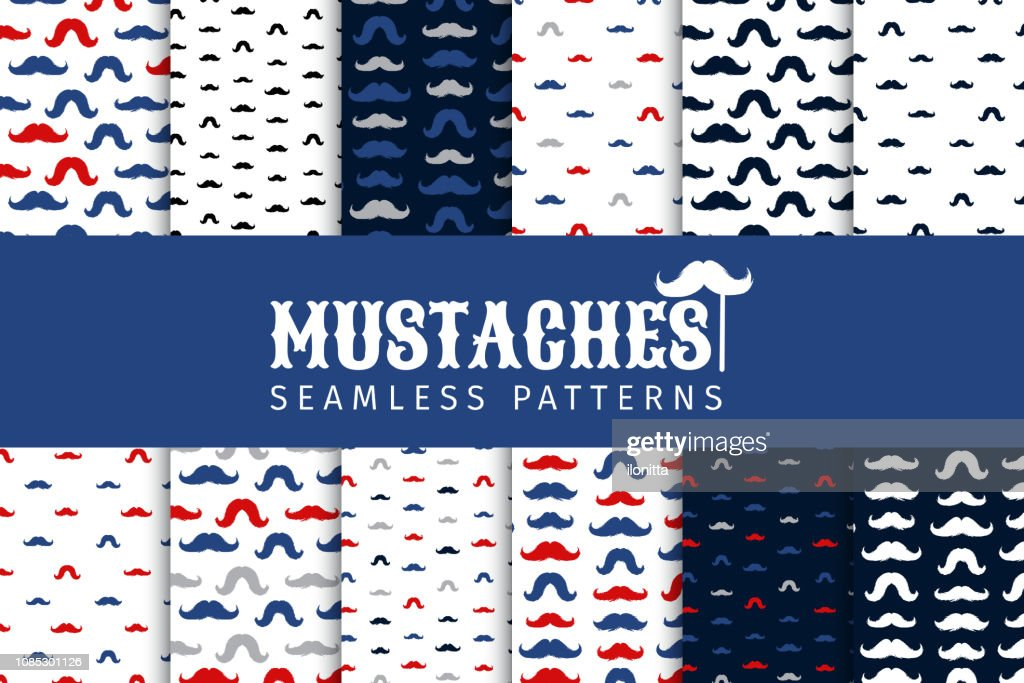 Mustache Vector Seamless Patterns Set. November Holiday Wrapping.