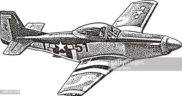 mustang fighter plane - us navy stock illustrations, clip art, cartoons, & icons