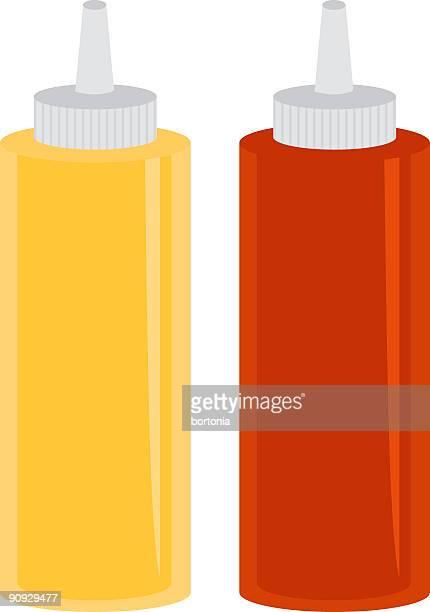mustard and ketchup - ketchup stock illustrations, clip art, cartoons, & icons