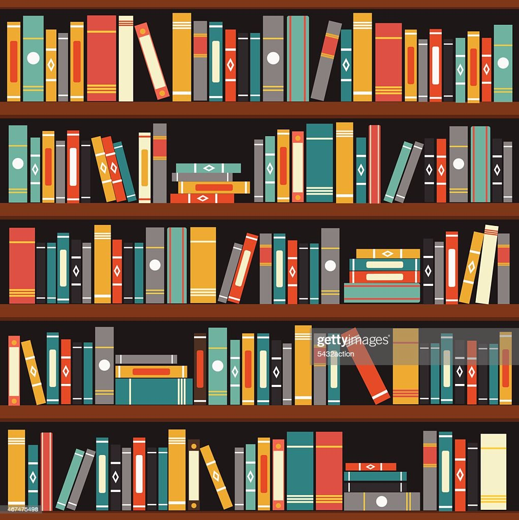 Muted tone vector illustration of generic books on bookshelf
