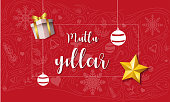 Mutlu Yillar Yeni Yil Vektor Tasarim. Happy New Year Text in Turkish with Christmas Ornament and Decorations.
