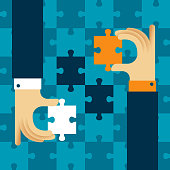 Mutually beneficial cooperation vector concept with jigsaw puzzle in flat style