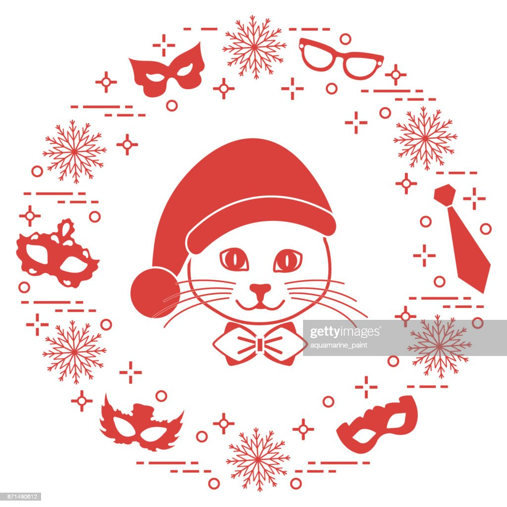 Muzzle of a cat in a Christmas hat and carnival masks, snowflakes, glasses, tie. Carnival festive concept.