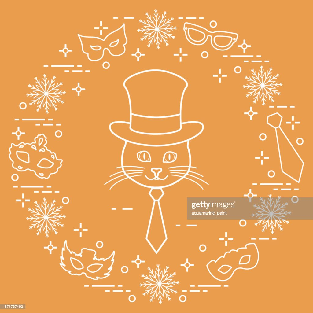 Muzzle of a cat in a cylinder hat and carnival masks, snowflakes, glasses, tie. Carnival festive concept.