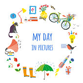 My day card with objects and decorations illustratin