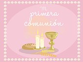 My first communion. Card invitation. Religious elements on blue