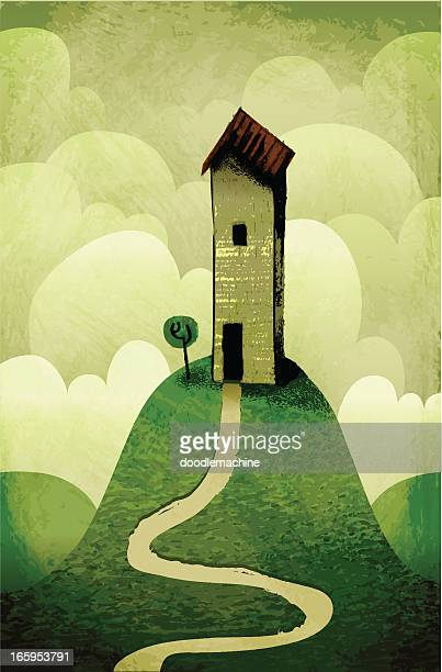 my house on the hill - absence stock illustrations