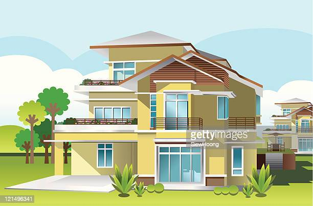 my ideal home - bungalow stock illustrations, clip art, cartoons, & icons