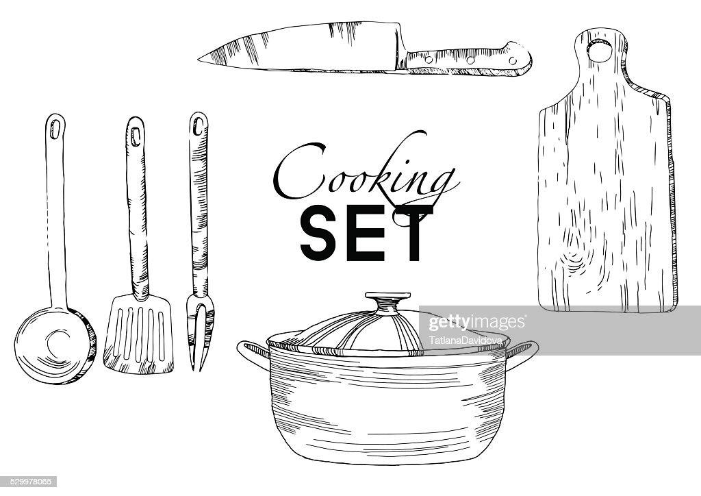 My kitchen graphics vector kitchen background set