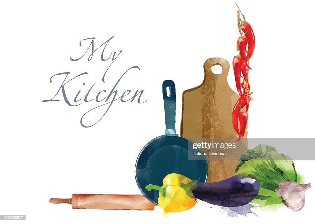 My kitchen Watercolor vector kitchen background